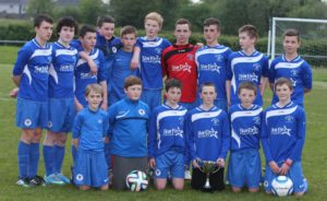 Nenagh AFC under 14s with the NTSFL Cup after they defeated BT Harps last week 2-0 in the Cup Final to secure their 4th League and cup double in a row