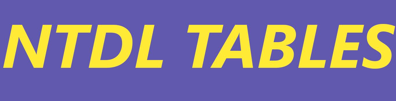 NTDL TABLES