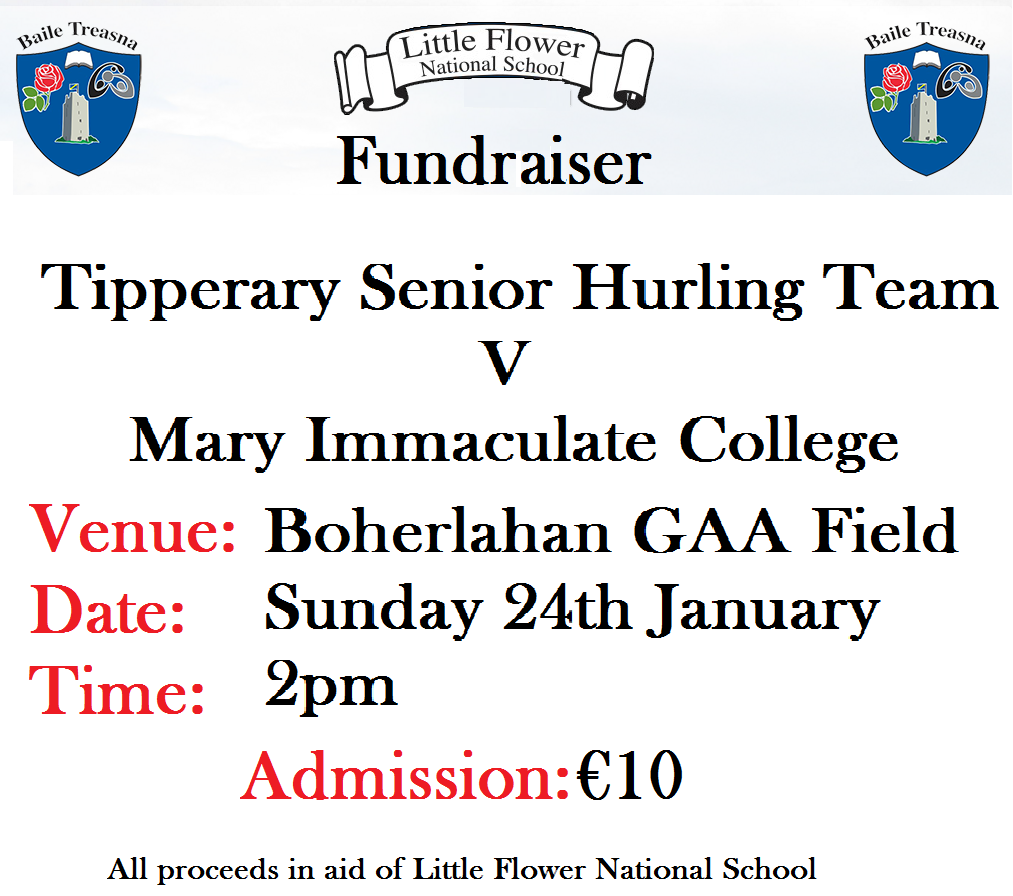 Tipperary Senior Hurlers V Mary Immaculate College. Boherlahan Sports field at 2 pm.