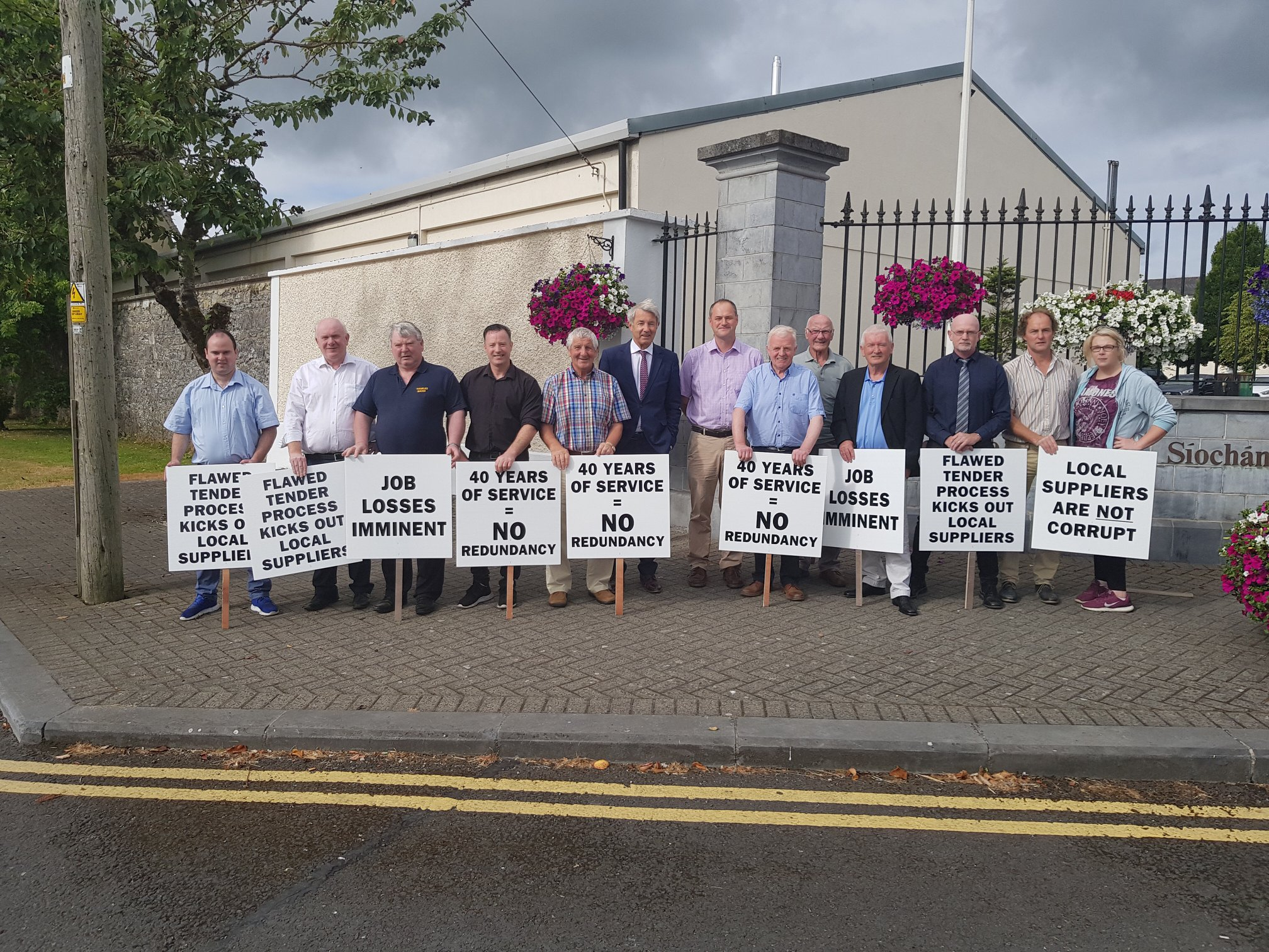 Templemore Garda College suppliers stand in protest.