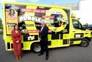 Mercedes-Benz commercial vehicles Marketing Executive, Laura Cooke and Sales Manager, Fergus Conheady, pictured at the launch of a new critical care ambulance which will become the 16th vehicle to join the fleet of the interactive children's ambulance service BUMBLEance.